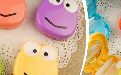 Roztomilé pouzdro v podobě žabičky na kontaktní čočky se zrcátkem.