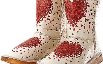 Dámské boty Elite Goby s potiskem srdíček, krémové