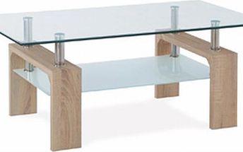 Autronic Konferenční stolek AF-1025 SON, sonoma/sklo