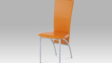 Autronic Jídelní židle AC-1018 ORA, chrom/oranžová koženka