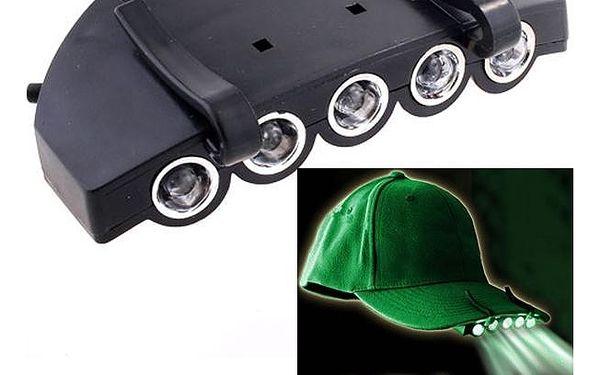 Nasazovací 5 LED svítilna na kšiltovku - dodání do 2 dnů