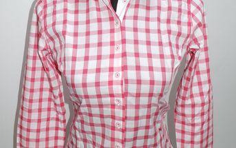 Dámská košile Pontto kostkovaná, bíločervená
