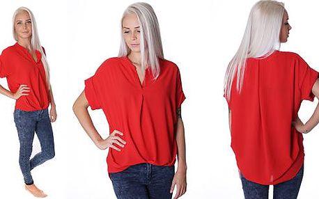 Volná červená halenka s krátkým rukávem