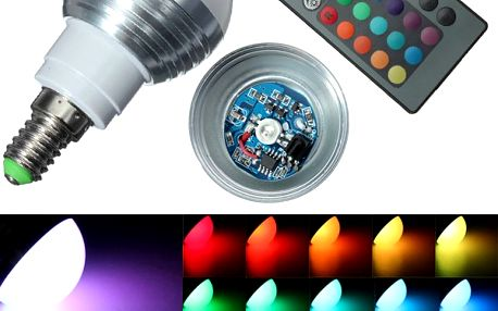 3 W multibarevná LED žárovka (patice E14)