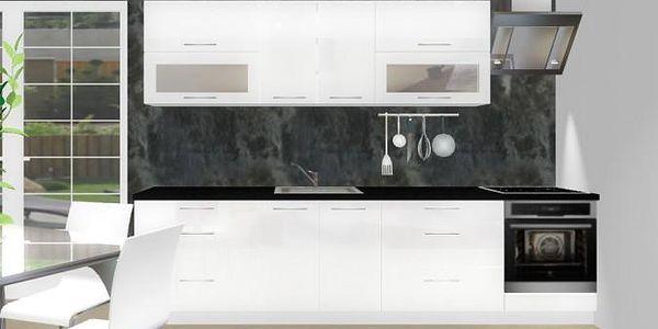 Emilia - Kuchyňský blok D pro vestavnou troubu, 3 m (bílá lesk)