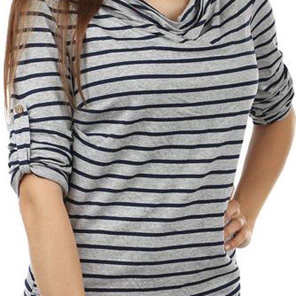 TopMode Zajímavé tričko s volným výstřihem tmavě šedá