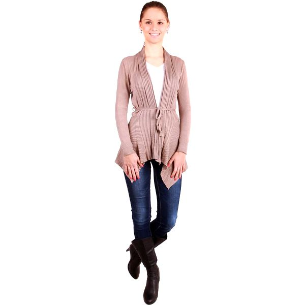 TopMode Dámský zeštíhlující módní svetr na zavazování tmavě hnědá