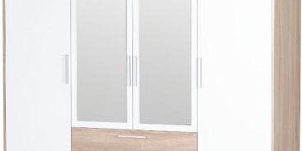 Šatní skříň se zrcadlem Rebeka - dub sonoma + bílá