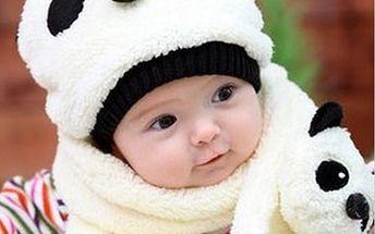 Dětská čepička a šála s motivem pandy - v 5 barvách