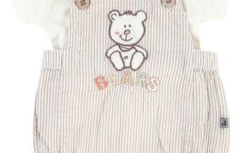 Dětský set trička a laclových kraťasů - béžovo-bílý