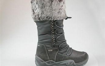 Dívčí zimní boty s kožíškem a cvočky - šedé
