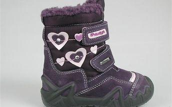 Dívčí zimní boty se srdíčky - fialové