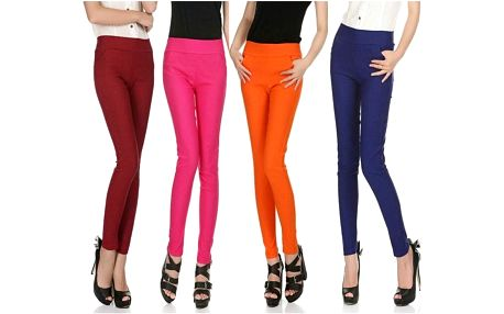 Dámské kalhoty s vyšším pasem Slim v mnoha barvách!