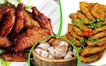 Pořádná hostina v restauraci Pod Jasanem! 1 kg grilovaných kuřecích křidélek a 1 kg šťavnatých řízečků s pečivem a okurkou! Kuřecí, vepřové nebo mix, výběr je na Vás! Vezměte kamarády, partnery nebo rodinu a zažijte tu správnou řízkománii s bonusem v podo