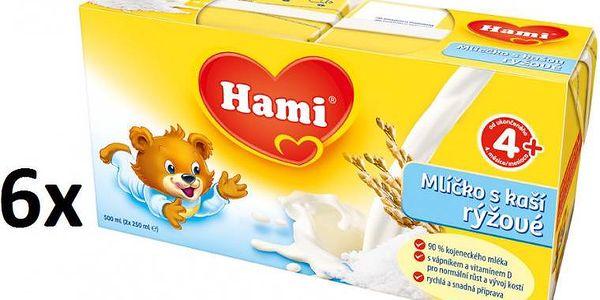 Hami Mlíčko s kaší rýžové - 6 x (2x250ml)