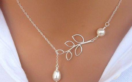Elegantní náhrdelník s větvičkou a perlami - dodání do 2 dnů