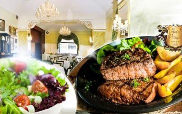 Kuřecí nebo vepřový 250g STEAK + HRANOLKY nebo brambory + salát v luxusní restauraci 4* hotelu na Andělu!