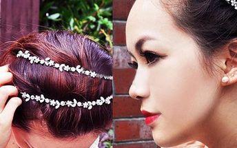 Elastická čelenka do vlasů s kamínky