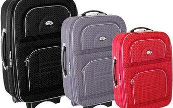 Sada tří cestovních kufrů na kolečkách ve 4 barevných provedeních