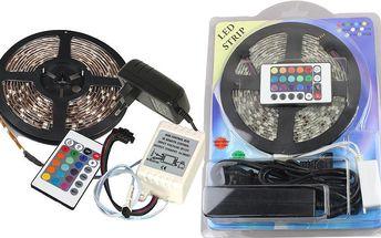 Led pásek Barevný - 5metrů - RGB 3528 + trafo + ovladač