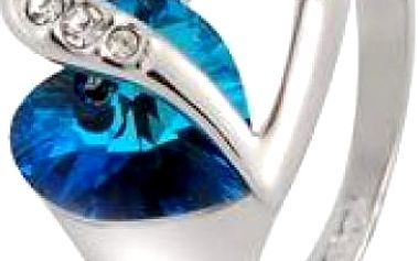Prstýnek ve tvaru srdce s modrým kamínkem