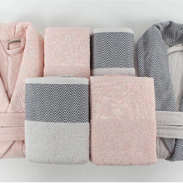 Rodinný set županů a osušek Pink&Grey - doprava zdarma!