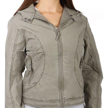 Dámská jarní bunda s kapucí šedá