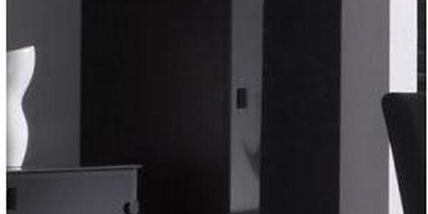 Úzká šatní skříň Astor – provedení wenge / černé sklo