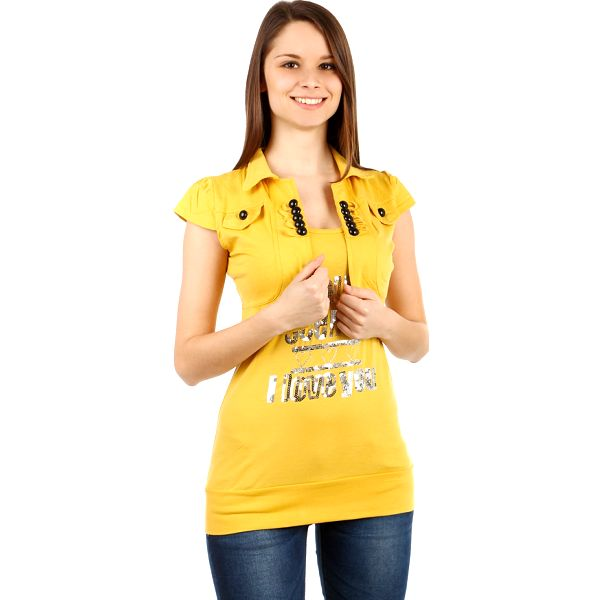 Moderní bolerko s krátkým rukávem žlutá