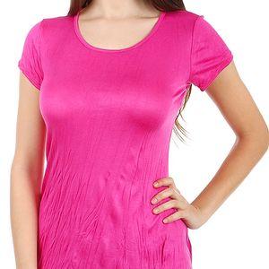 Pohodlné tričko s krátkým rukávem tmavě růžová