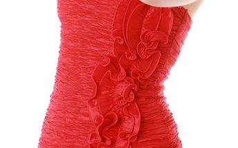 Šaty na jedno rameno červená