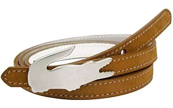 Lacoste Pásek RC9525 Skinny Reversible Faux Leather Belt White Brown