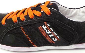 Dámské tenisky Mixer s oranžovými detaily, černé