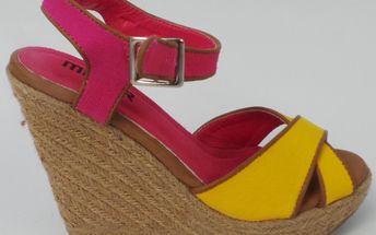 Dámské sandály Mixer, na klínu, žlutorůžové