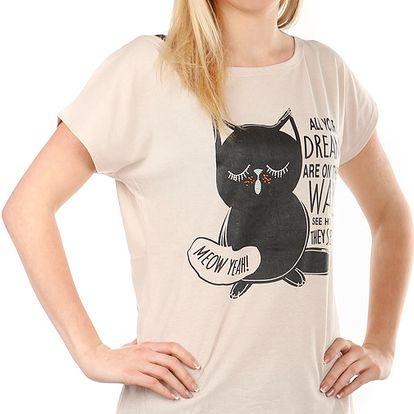 Moderní tričko s potiskem béžová