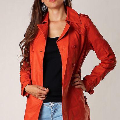 Dámský koženkový kabátek oranžová