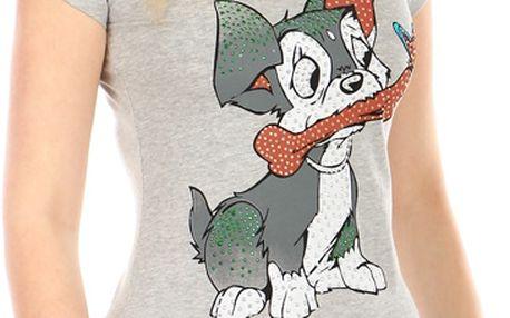 Příjemné tričko s roztomilým obrázkem šedá