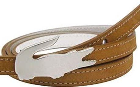 Lacoste Pásek RC9525 Skinny Reversible Faux Leather Belt White Brown