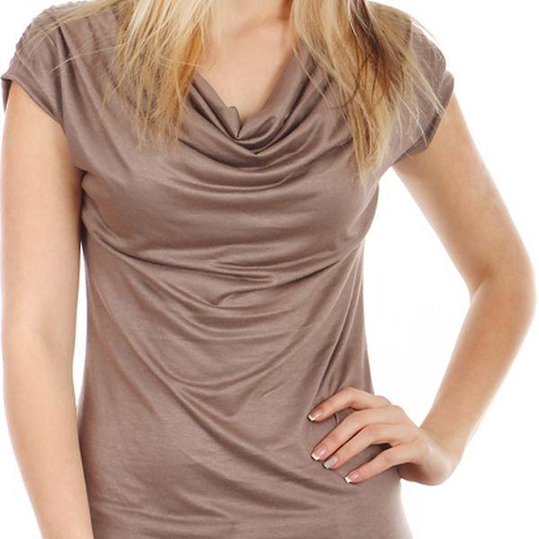 Krásné elegantní tričko světle hnědá