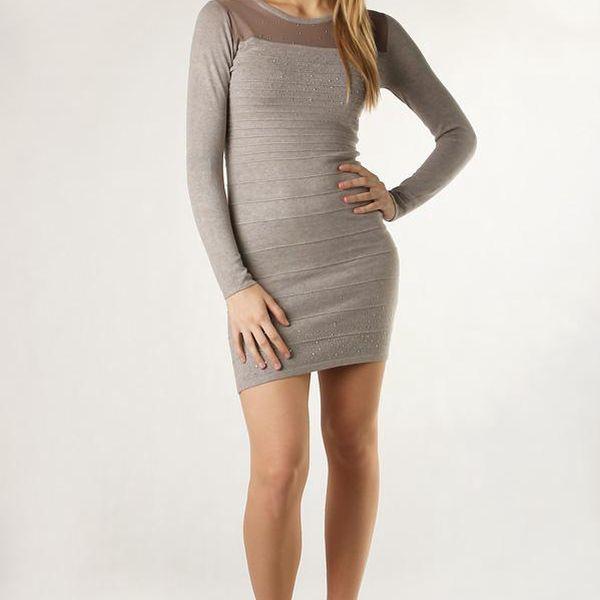 Dámské stylové úpletové šaty / svetr světle hnědá