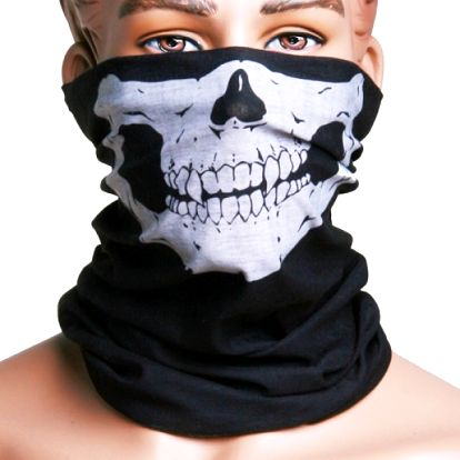 Multifunkční černý šátek s lebkou - dodání do 2 dnů