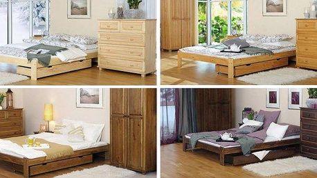 Krásná postel z masivu včetně roštu možno i s kvalitní matrací dle výběru! Postelový komplet z masivní borovice, výběr z pěti rozměrů. Vysoká kvalita a dlouhá životnost. Postel je dodávána s laťkovým roštem a možnost kvalitních matrací na výběr za nejnižš