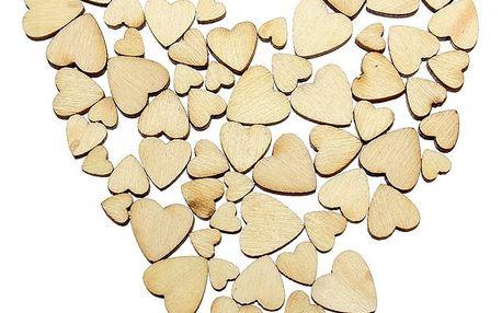 100 kusů dřevěných srdíček