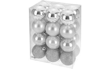 Vánoční koule 24 x 60 mm stříbrné