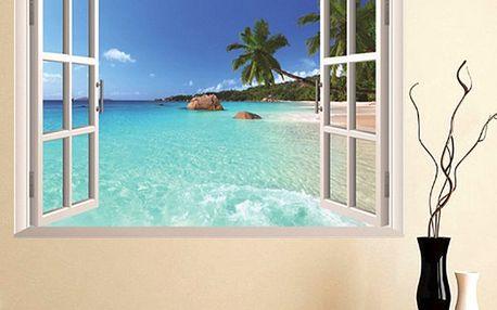 3D samolepka na zeď - okno na pláž - dodání do 2 dnů