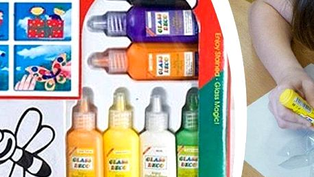 Velká sada barev na sklo - 12 barviček včetně vzorových šablon, překreslit však lze jakýkoli motiv.