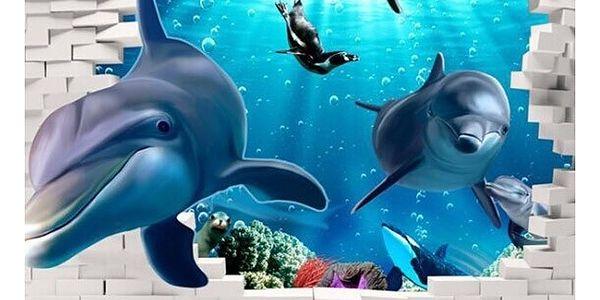 3D samolepka na zeď - delfíni