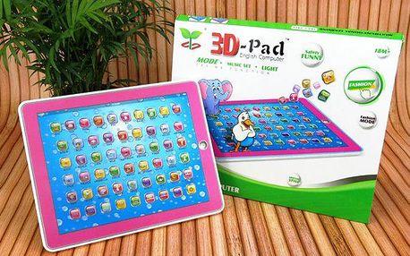3D dětský tablet pro výuku angličtiny pro menší i větší děti v růžové a modré barvě