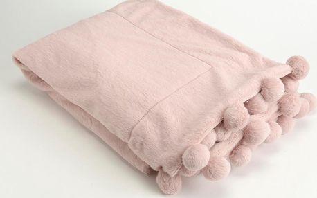 Deka Pompon Pink, 130x170 cm - doprava zdarma!