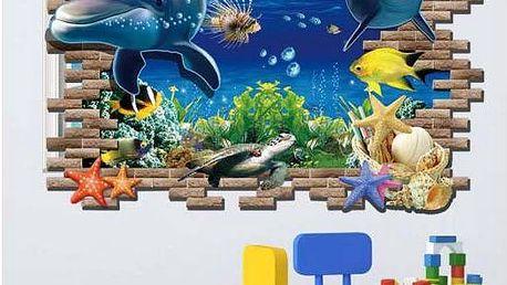 3D samolepka na zeď s delfíny
